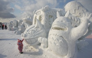 small snow sculptures
